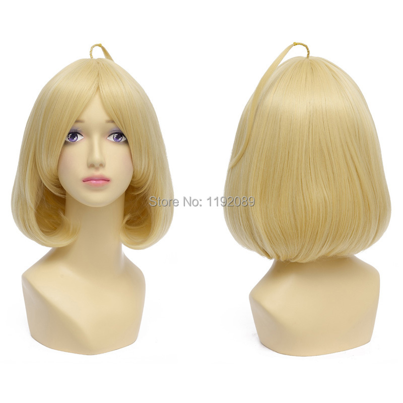 Cheap 12 inches Short Straight Blonde Bangs Anime Cosplay Wig Riddle Story Of Devil Synthetic Hair Wigs