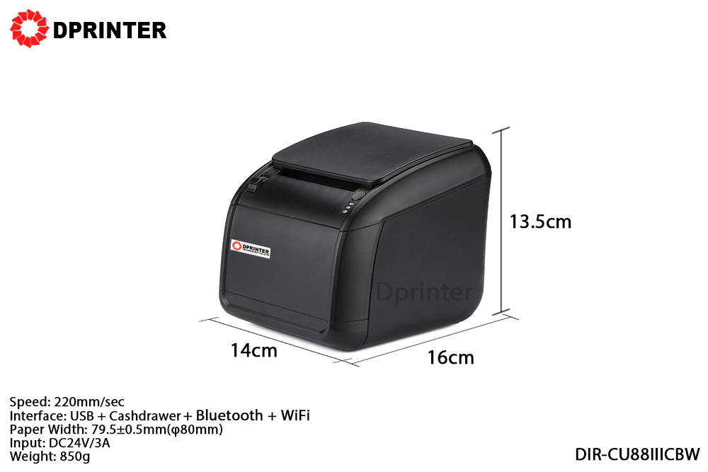 Dprinter Wireless WiFi + Bluetooth 80mm Thermal Receipt Pos Printer with Auto Cutter