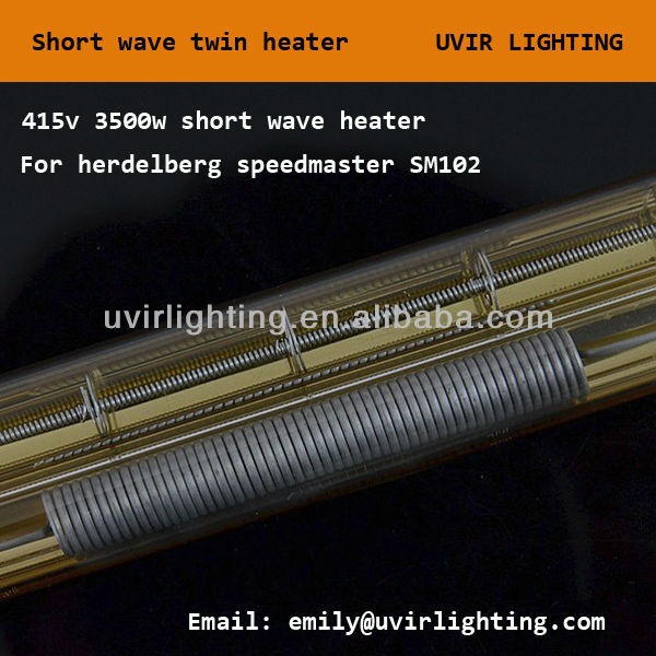 415V 5400W Short wave Quartz twin tube gold reflector infrared halogen heating lamp Heidelberg printing machine SM102-SW-A