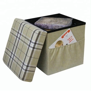 Stripe Folding Storage Ottoman Cube With Wooden Tray Beige