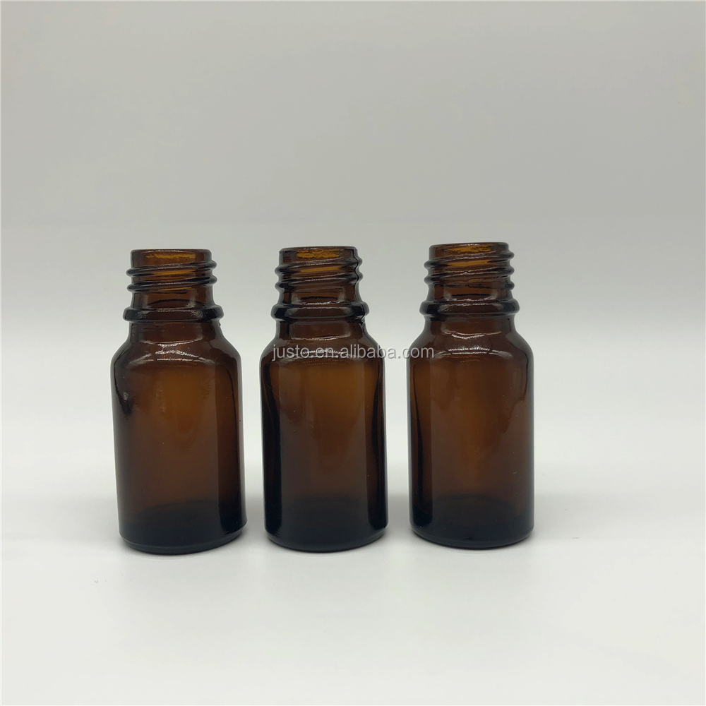 Wholesale 10ml Amber Glass Serum Bottles With Black ALuminum Safe Screw Cap
