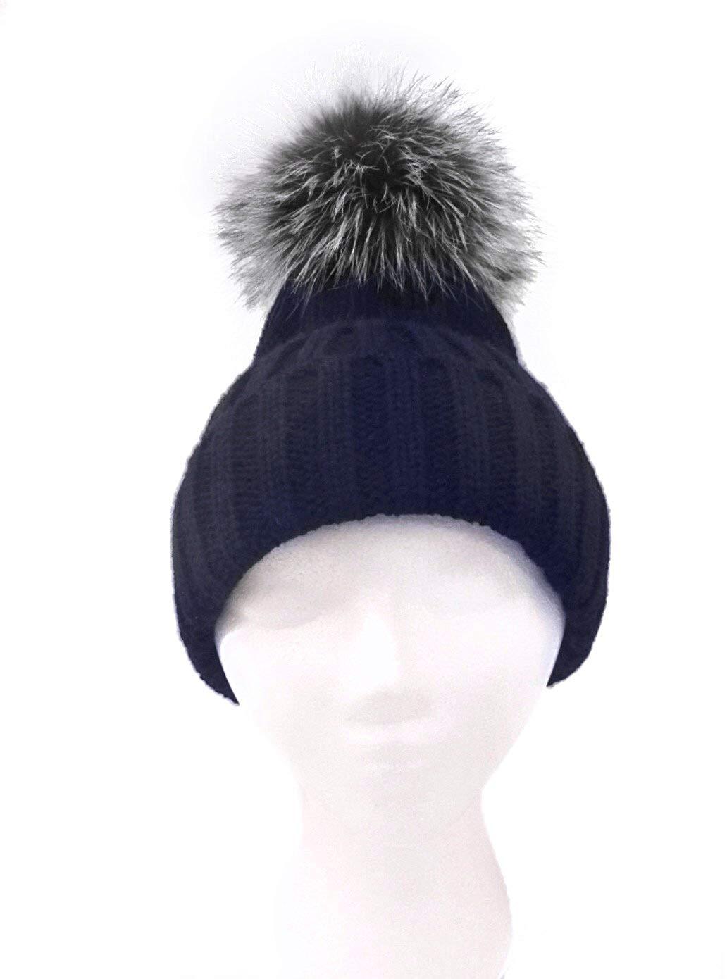 5bd2b015464e8 Get Quotations · ANNABELLE NEW YORK Knit Beanie Hat with Detachable Fox Pom  Pom