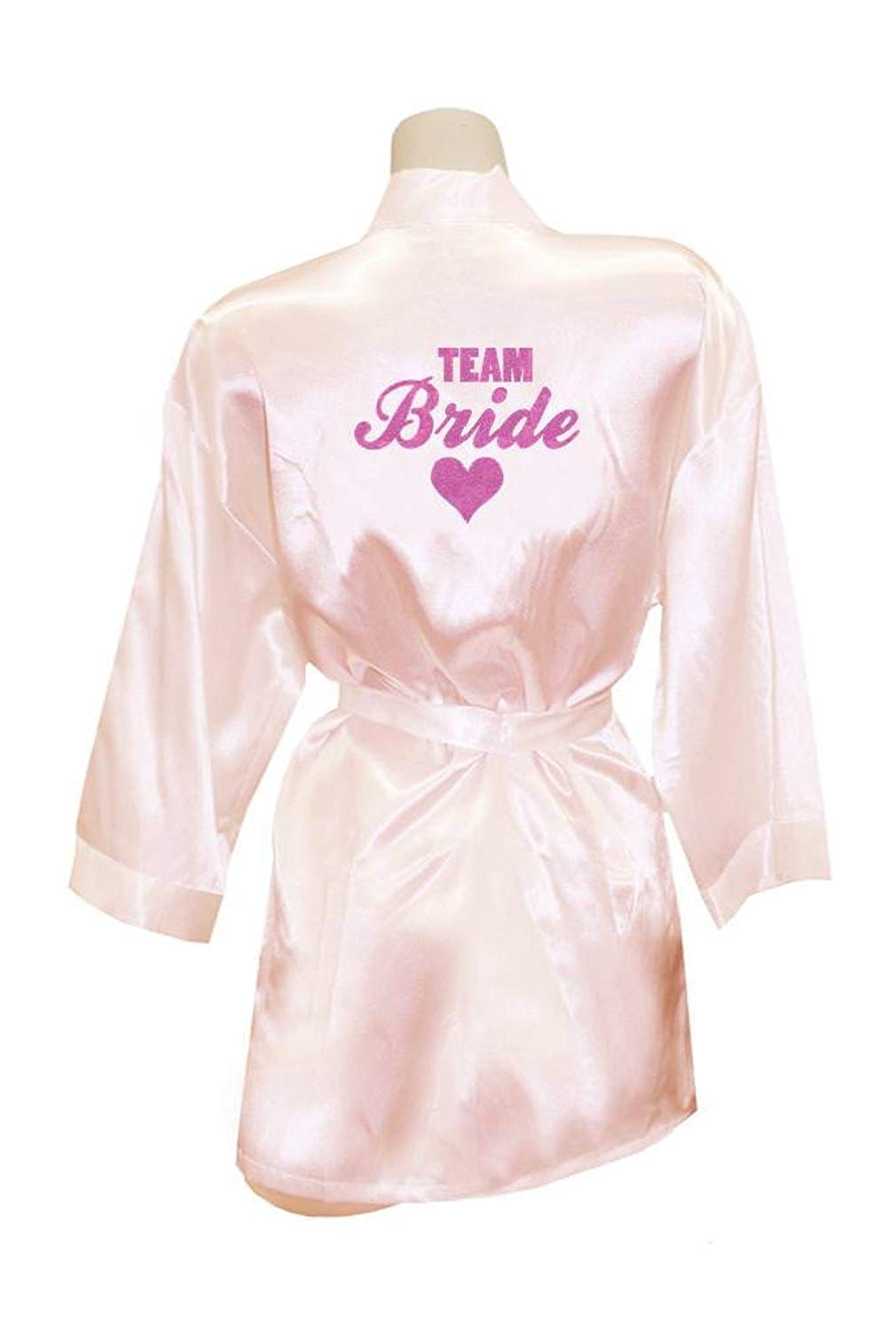 Get Quotations · TEEN fashion Women Cute Team Bride Heart Golden Glitter  Kimono Satin Party Wedding Gift Robes be380efea
