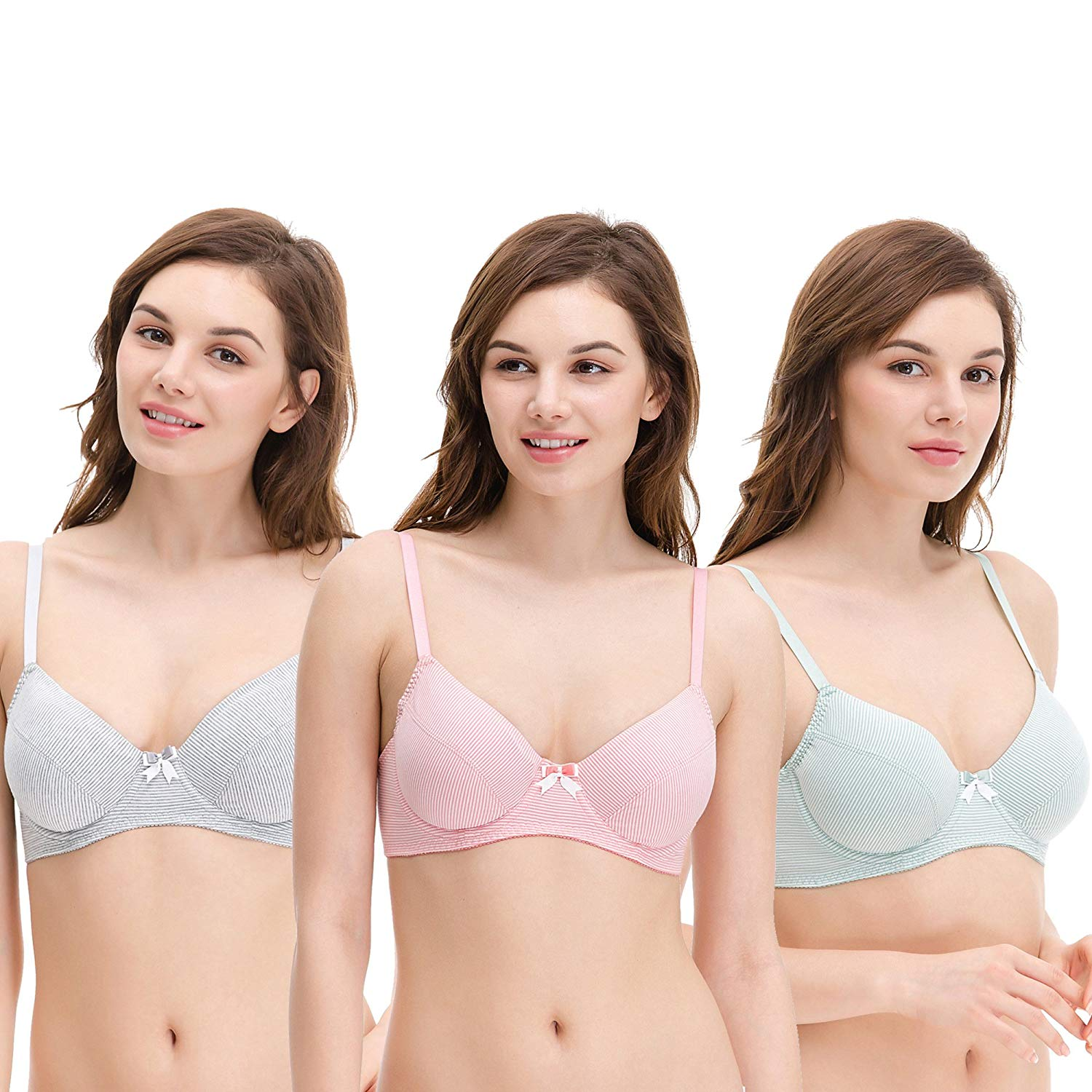 c40a97fad0 Get Quotations · Curve Muse Plus Size Unlined Balconette Underwire Bra -3Pack(Size  34B to 48DDD