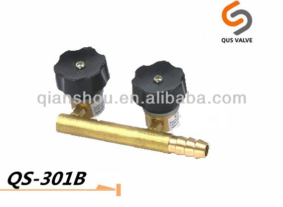 QS 301B double spray brass gas bbq valve/camping stove valve