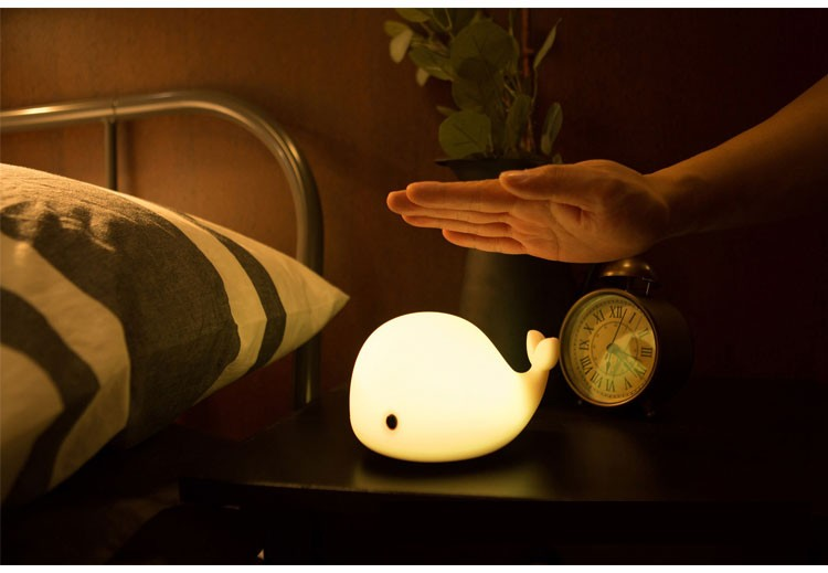 Led Colorful Silicone Little Whale Night Light Kids Baby ...