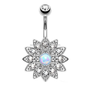 Surgical Steel CZ Lotus Belly Button Ring Dangle Navel Body Jewelry Piercings