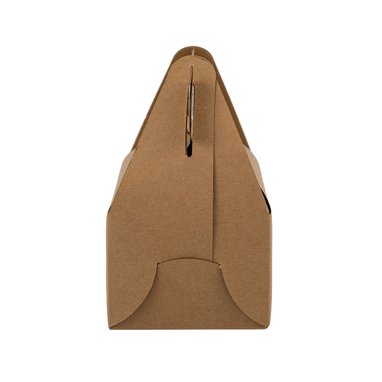 Solid color brown easy carry folding disposable food packaging kraft paper lunch box