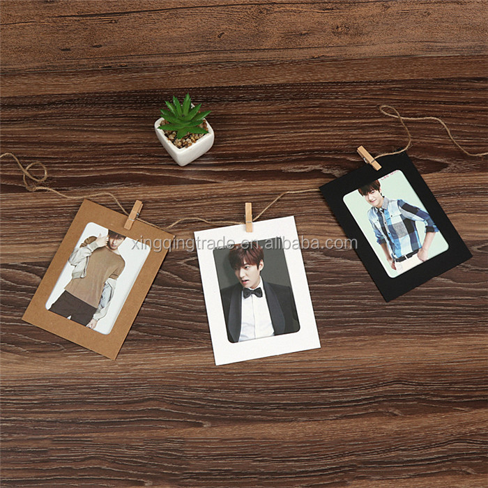 10pcs/ set Wall Photo Frame DIY Hanging Picture Album Party Wedding Decoration Paper Photo Frame with Rope Clips