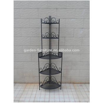 Xy131143 Wrought Iron Craft Home Garden Space Saver,Yes Folding Metal  Display Standing Rack,5 Tier Living Room Corner Shelf   Buy Metal Display  Book ...