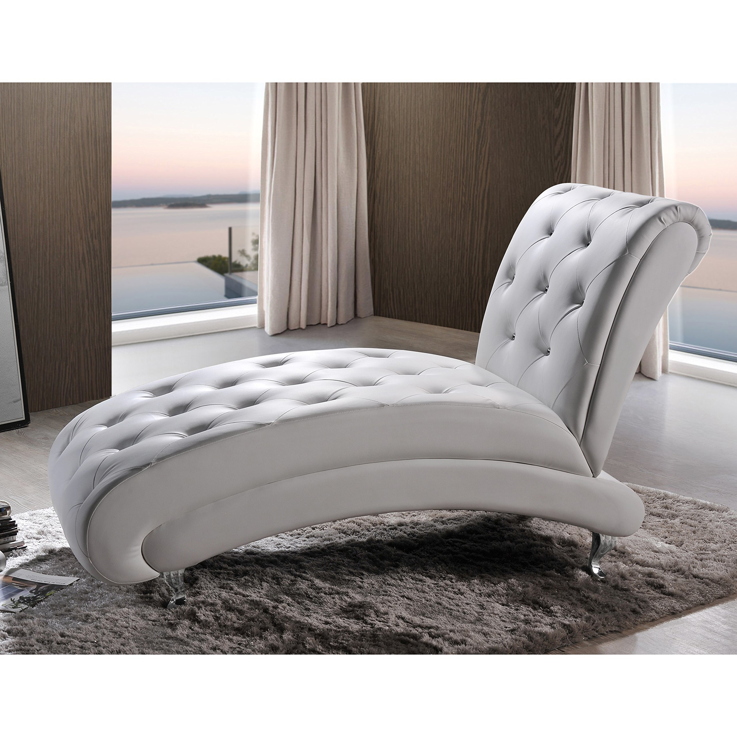 Premium Contemporary Modern Chaise Lounge - Indoor Living Room Bedroom Sofa Chair Upholstered Armless Furniture (White)
