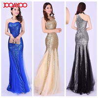 2017 One Shoulder Maxi Party Dresses Bodycon Gold Sequin Prom Dress Women Designer One Piece Evening Dress