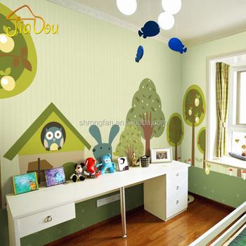 Custom Cartoon Kleuterschool Kinderkamer Leuke Dier Groene Pastorale ...