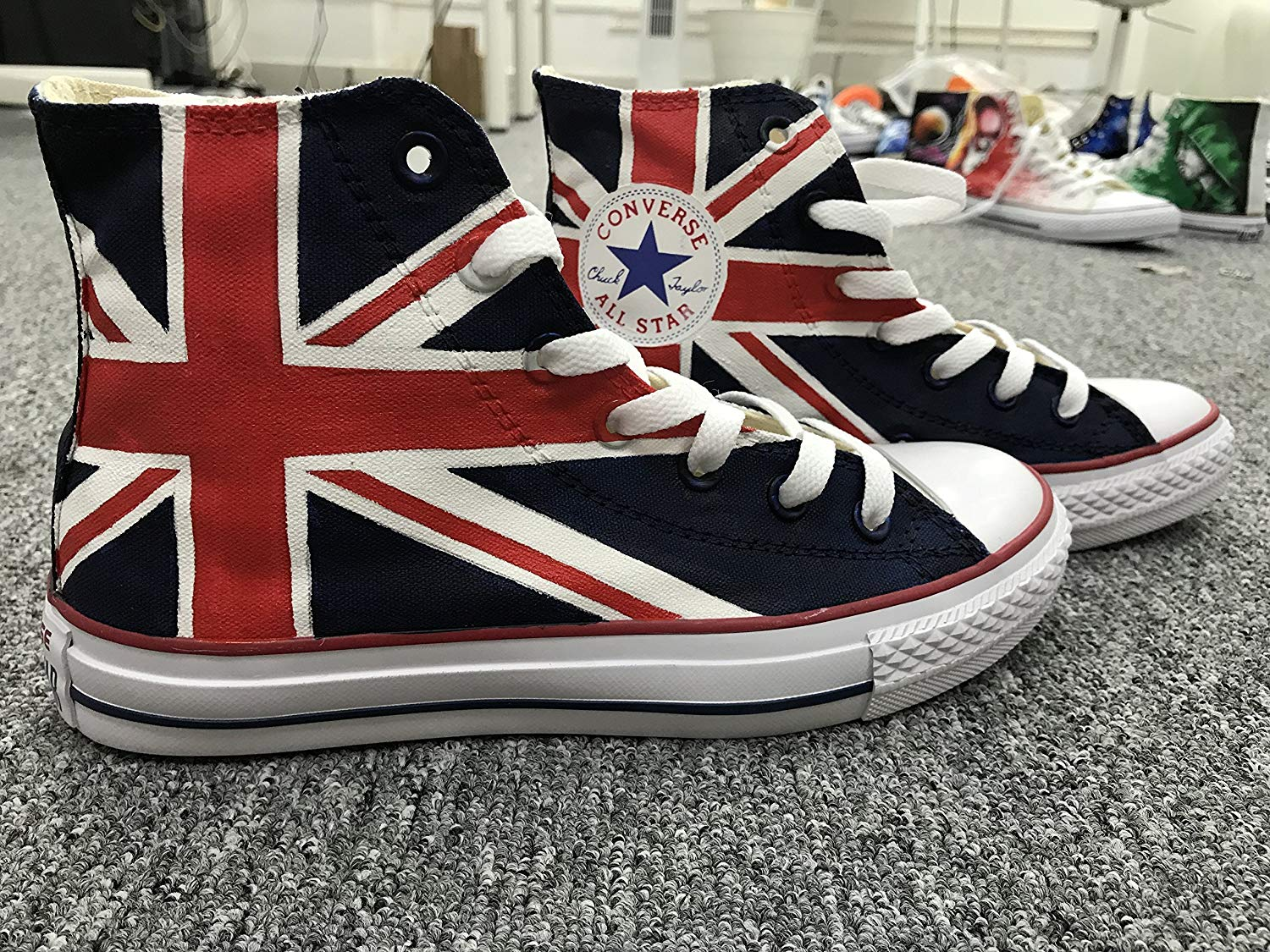9df9eb463688 Get Quotations · UK Flag Hand Painted Shoes For Women Men Custom Sneakers  Painted Sneakers Hand Painted Shoes Flag