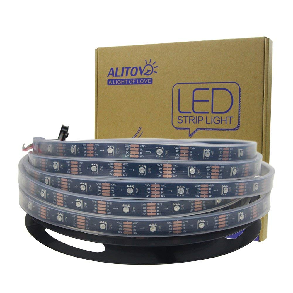 ALITOVE 16.4ft 12V WS2812B Individually Addressable Programmable LED Strip Light, AL2815 Dream Color RGB LED Pixels Light Strip Black PCB, 5m 150 LEDs Waterproof IP67, Upgraded Version of WS2813