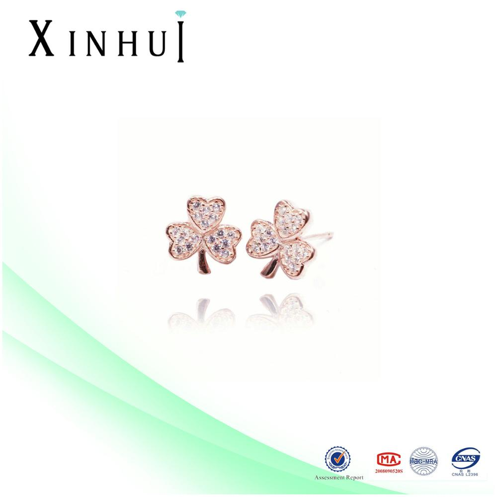 Silver 925 Rose Gold Clover men stud earrings fashion factory price