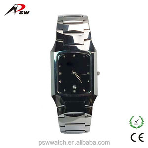2015 hot sale stainless steel watch quart wristwatch luxury square watch for men and lady