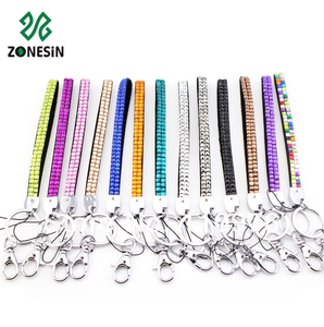 Bulk Sale Cheap Price Custom Colorful Bling Rhinestone Crystal Short Wrist Keychain Lanyards