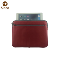 Red black soft slim leather laptop bag sleeve notbook cover case