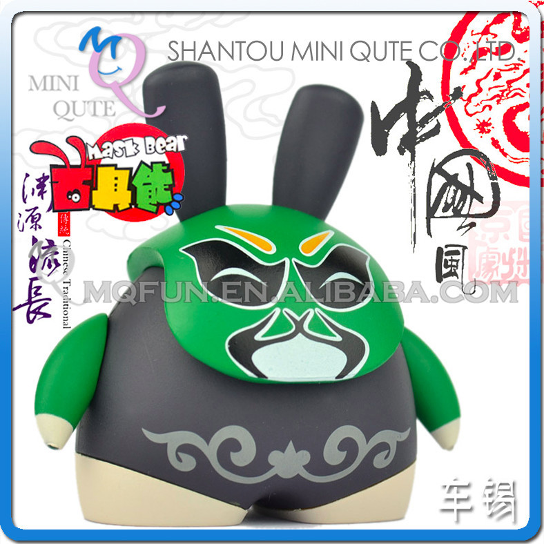 Mini Qute Mask Bear 6.5cm Kawaii Chinese opera facial makeup Chexi plastic reloading action figure Cartoon toy car Decoration