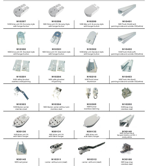 NOVO Latest No8 Motorized /electric/automatic Curtain Rail/parts  Accessories With Best Quality