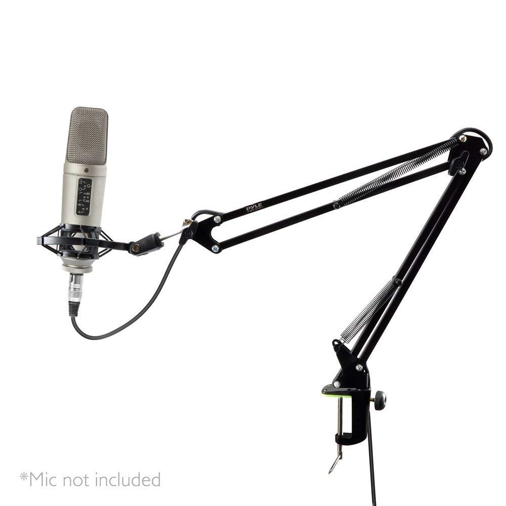 MyEasyShopping Universal Table Clamp Boom Shock Microphone Mount, Adjustable Microphone Boom Scissor Arm Stand - Dual Suspension and Mic Mount Holder w/Shock Mount Clip Perfect for Radio Broadcasting