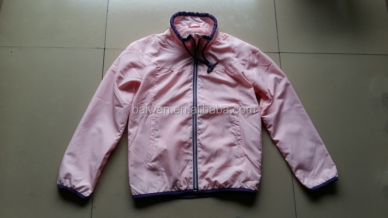Garment closeout girl's fashion breathable sport jacket