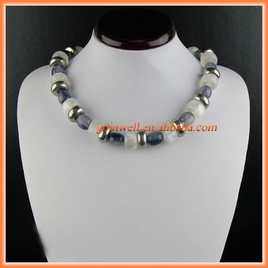Chunky beaded handmade necklace with resin and CCB newest fashion jewelry accessory P630185