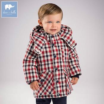 Db5632 Dave Bella Infantil De Invierno Bebé Niños Moda Chaquetas De Niño Con Capucha Plaid Prendas De Vestir Exteriores De Los Niños De Alta Calidad
