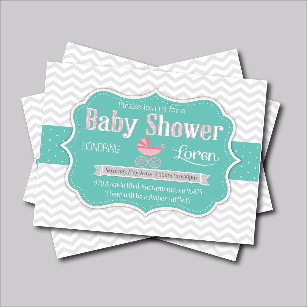 20 pcs/lot Custom Grey Chevron Baby Shower Invitations Birthday invites Party Decoration Baby Girl Shower Decor(A5 Invitations)