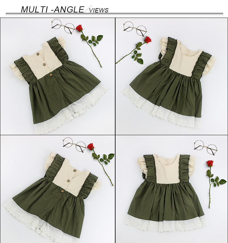 New Design Kid Clothing Dress Wholesale Maxi Lace Ruffles Girls Casual Dresses