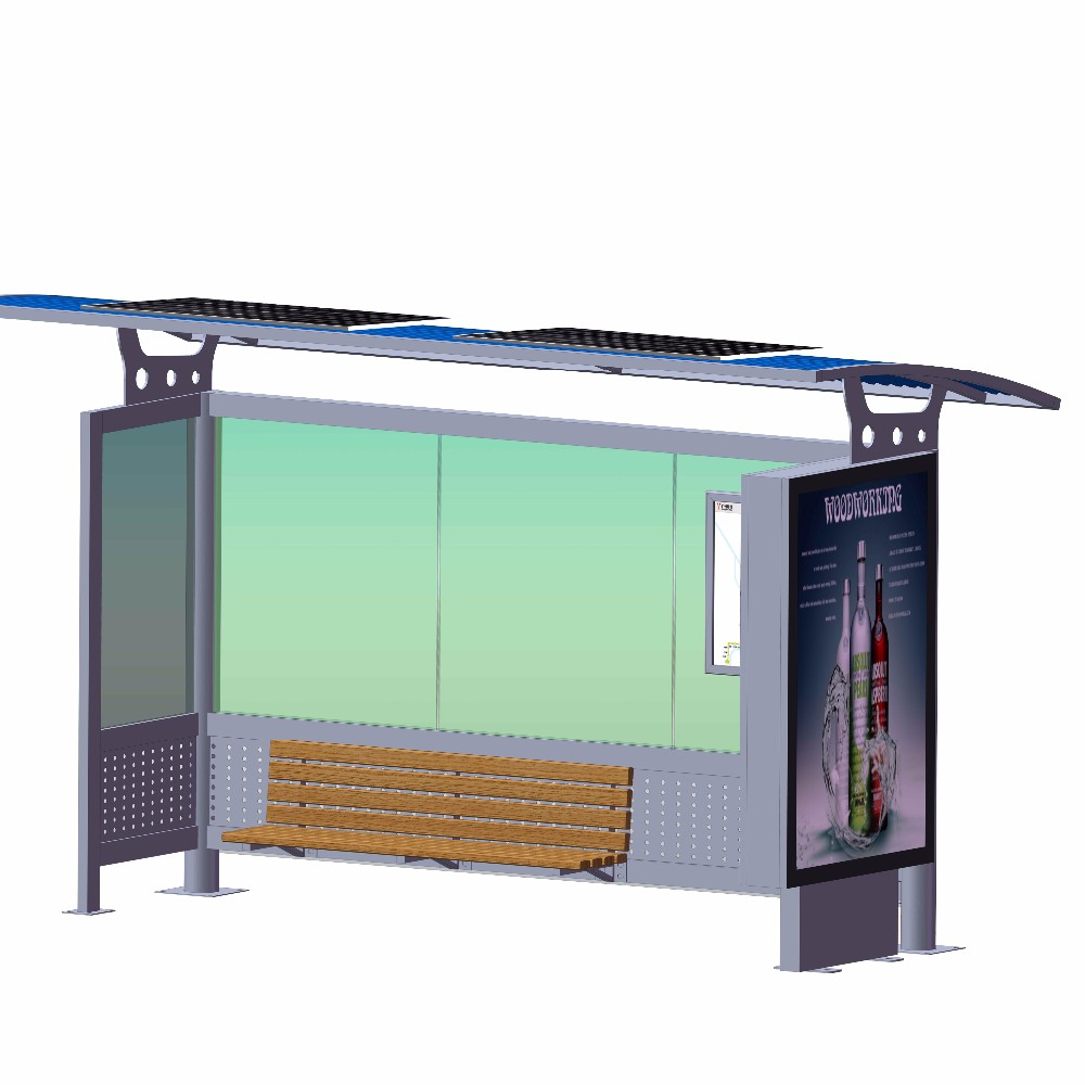 product-Metal Material Solar Powered Outdoor Bus Shelter-YEROO-img-4