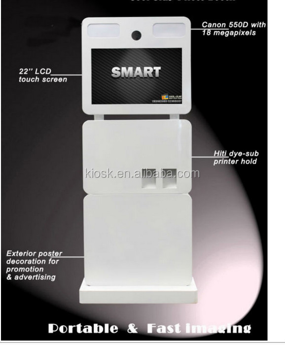 shopping mall display photo booth kiosk with touch screen