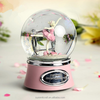 Ballerina snow globe resin musical valentine's day snow globe