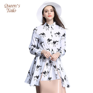 201024fb563 Woman White Long Sleeve Spring Dress Cute Puppy Printed A-Line Vestidos  Feminino Casual Woman