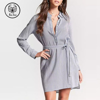 New Arrival Women Casual Custom Design Striped Popover Shirt Dress