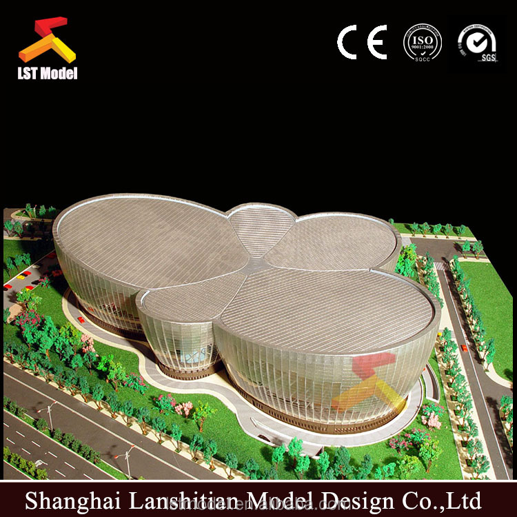 3d acrylic material architectural model with modern design and nice landscape