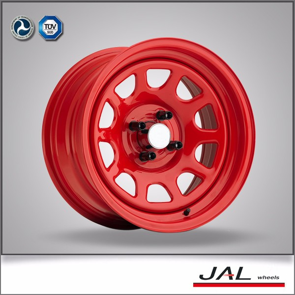 Top Sale Red Full Paint Car Rims 15 Inch Deep Dish Steel Wheels