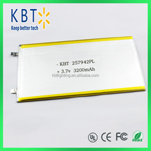257942 polymer lithium battery rechargeable polymer 3200mah lithium battery mah 3.7v lithium battery
