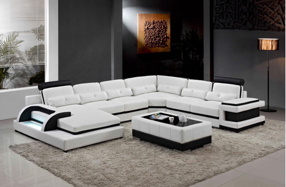 Modern Living Room Sofa Set Designs And U Shaped Sectional Leather Sofas