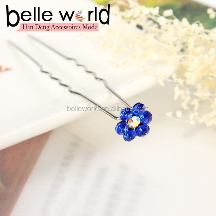 Wholesale Rhinestone flower U-type hairpin hair forks