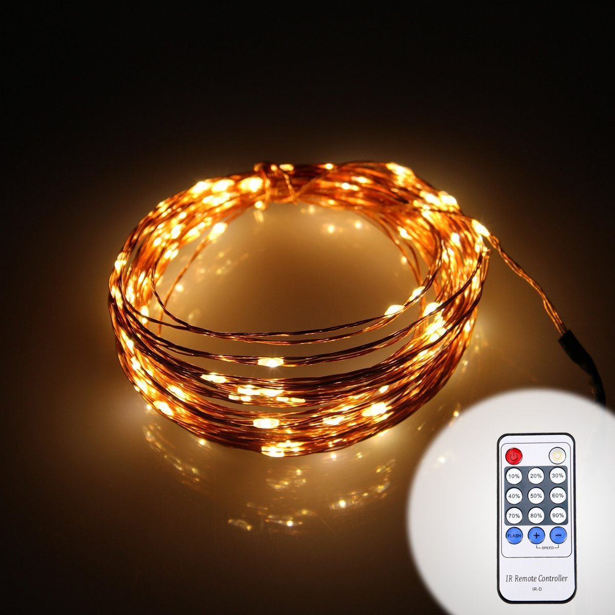 Color Our Life Dimmable Remote Control 33ft(10m) LED Starry String Lights Copper Wire Lights With 100 Individual LEDs (Warm White)