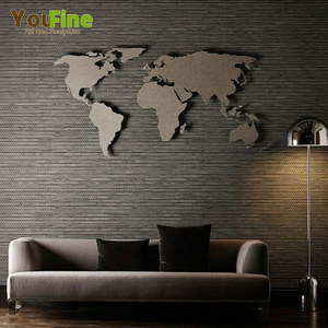 Indoor Decorative Metal Wall Art World Map Sculpture for Sale