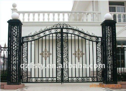 Antique de luxe en fer forg villa porte portails id de produit 503662800 for Porte villa en fer