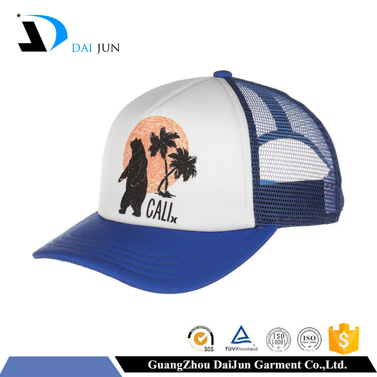 High quality embroidered snapback royal blue custom foam and mesh kids trucker cap