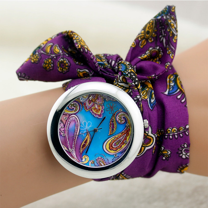 design fashion high wristwatch ladies women dress flower new product watches chiffon cloth geneva watch ribbon quality