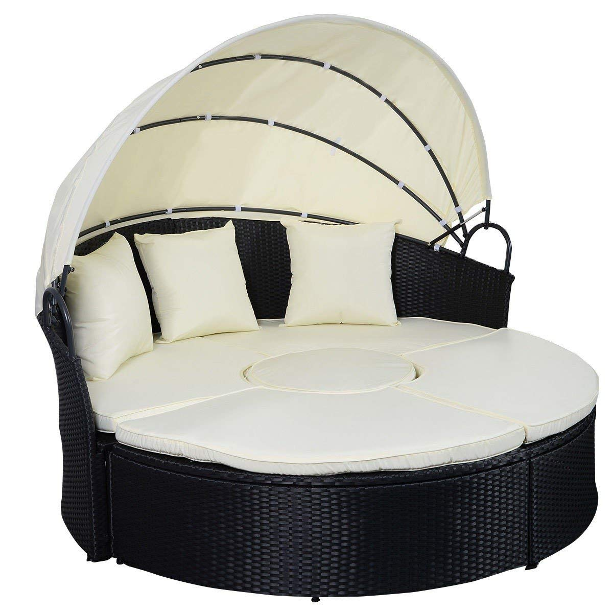 Svitlife 2-in-1 Outdoor Patio Rattan Round Retractable Canopy Daybed Outdoor Patio Sofa Round Retractable