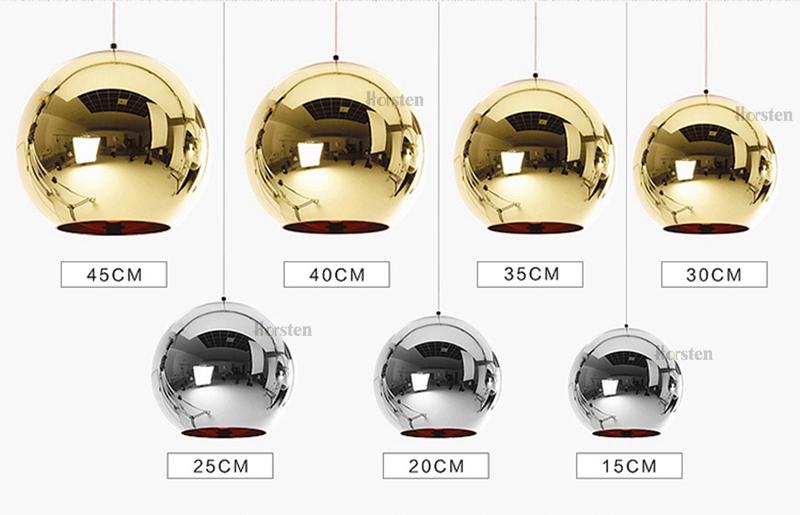 Horstent Nordic Home globe glass pendant lamp silver gold copper color dinning room living room light home decoration lighting (2)