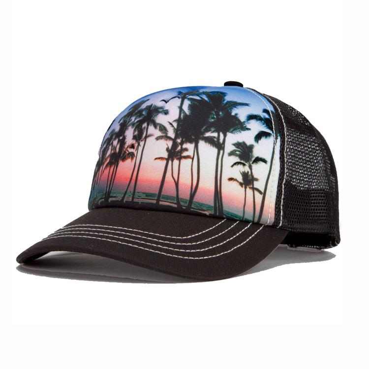 4f9a1247 Wholesale custom hawaii floral printing 5 Panel embroidery golf baseball  snapback hat foam trucker mesh caps