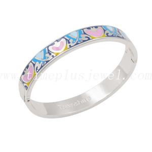 Hot selling new design hinged enamel custom bangle bracelets fashionable jewerly